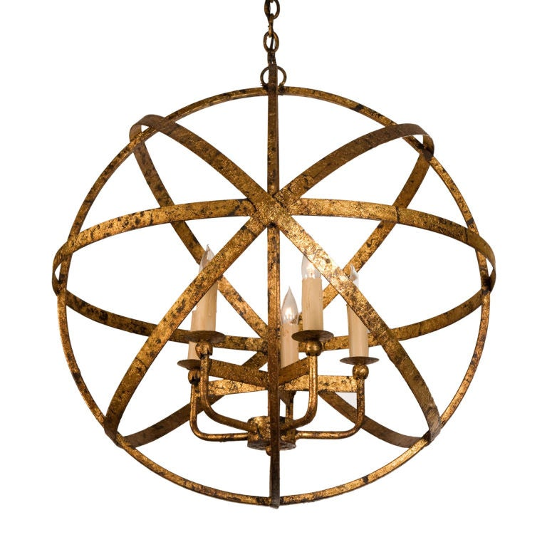 French gilt steel armillary chandelier at 1stdibs french gilt steel armillary chandelier for sale mozeypictures Images