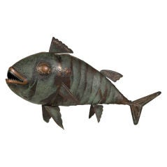 Handcrafted Metal Fish Sculpture by Grazielle Laffi