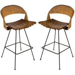Pair of Wood Slat Barstools by Arthur Umanoff for Raymor