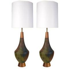 Pair of Tall Raku Glaze Ceramic Amphora Table Lamps by Raymor