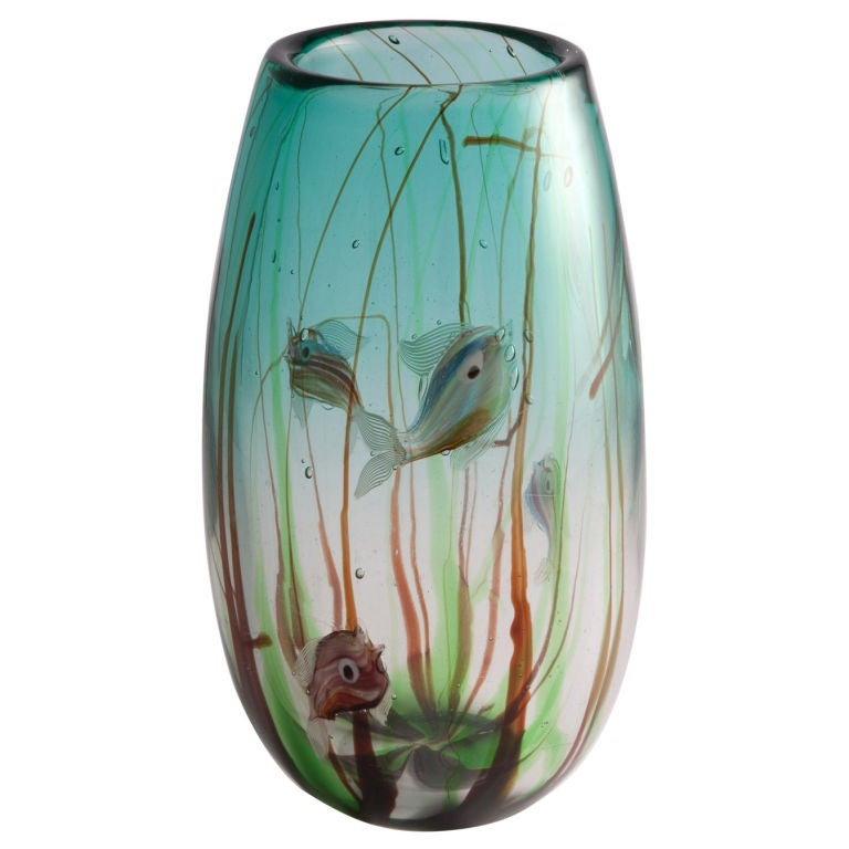 Tropical Fish Vase by Barbini For Sale