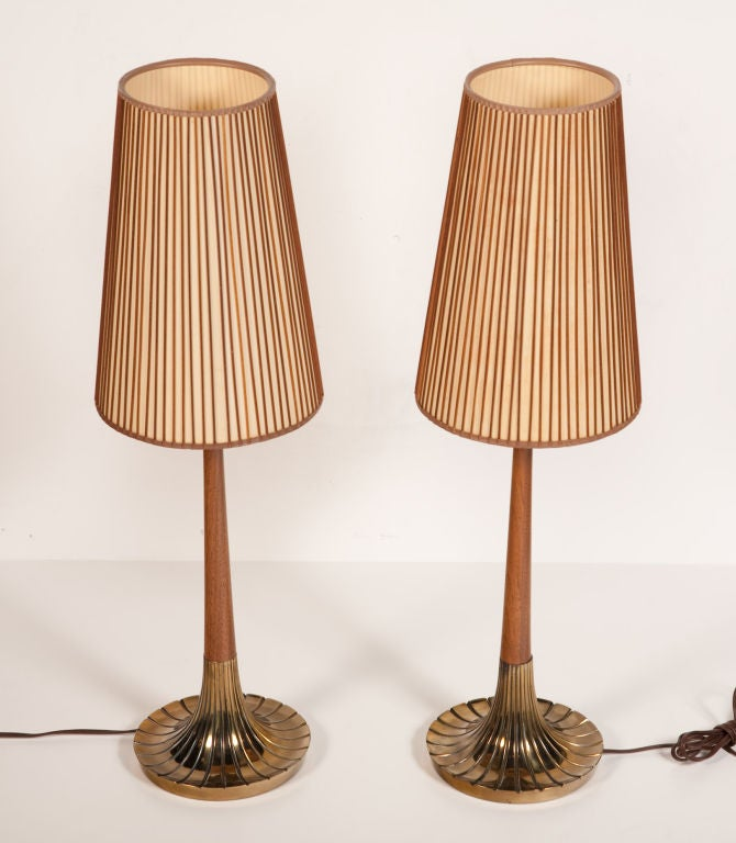 Pair Of Walnut And Brass Bedside Table Lamps By Lightolier