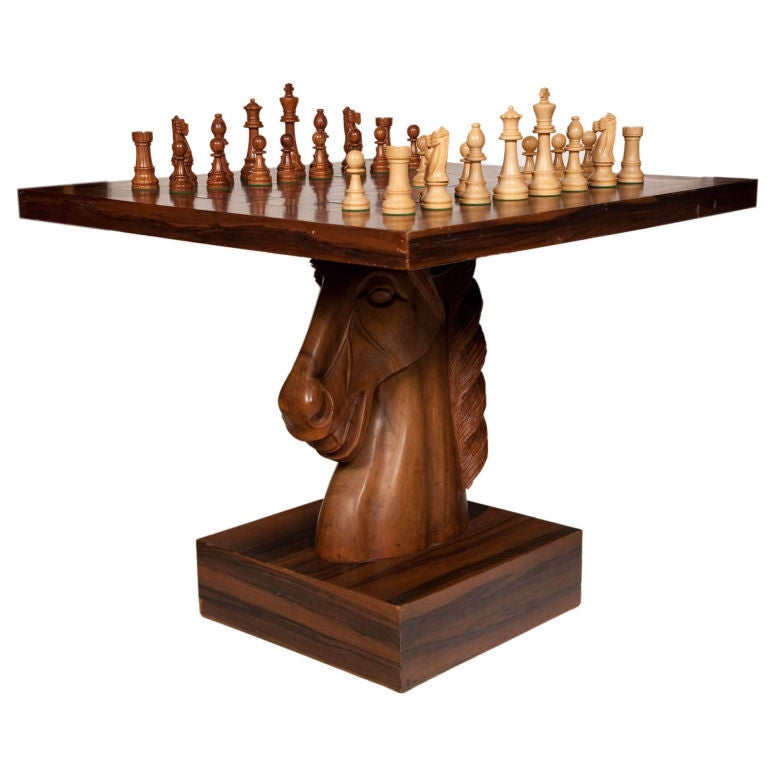 American fantasy knight chess table at 1stdibs - Wooden chess tables ...