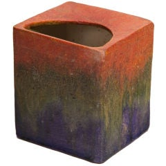 Tri-Color Glaze Ceramic Pillow Vase by Fantoni for Raymor