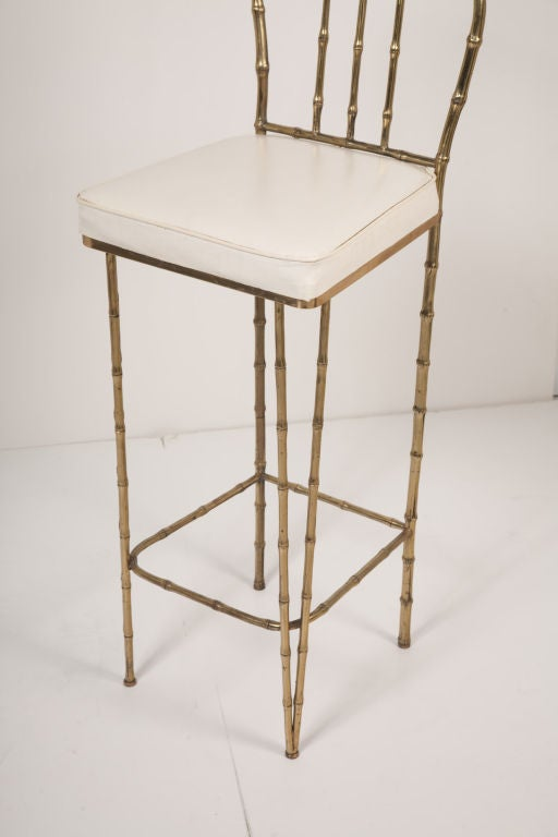 Solid Brass Framed Faux Bamboo Bar Stools By La Barge At