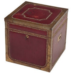 Italian Crimson Leather and Studded Metal Strong Box
