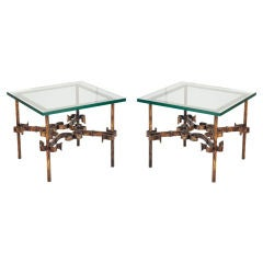 Pair of French Gilt Wrought Iron Square Occasional Tables