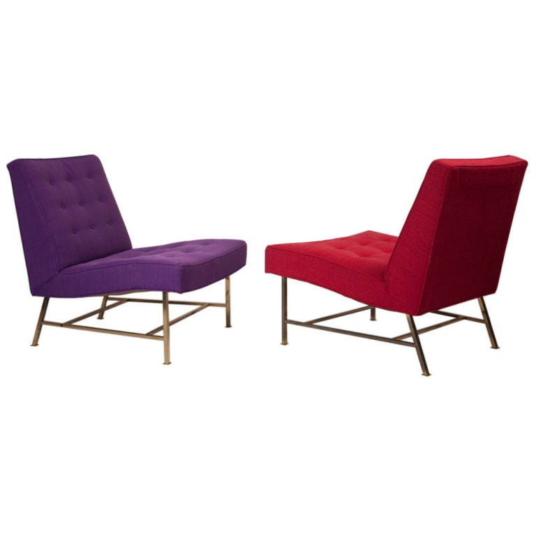 Graceful Pair of Brass Base Slipper Chairs by Harvey Probber
