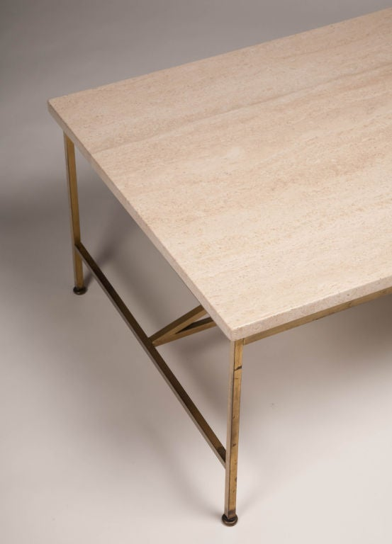 Travertine and Brass Cocktail Table by Paul McCobb for Calvin 4