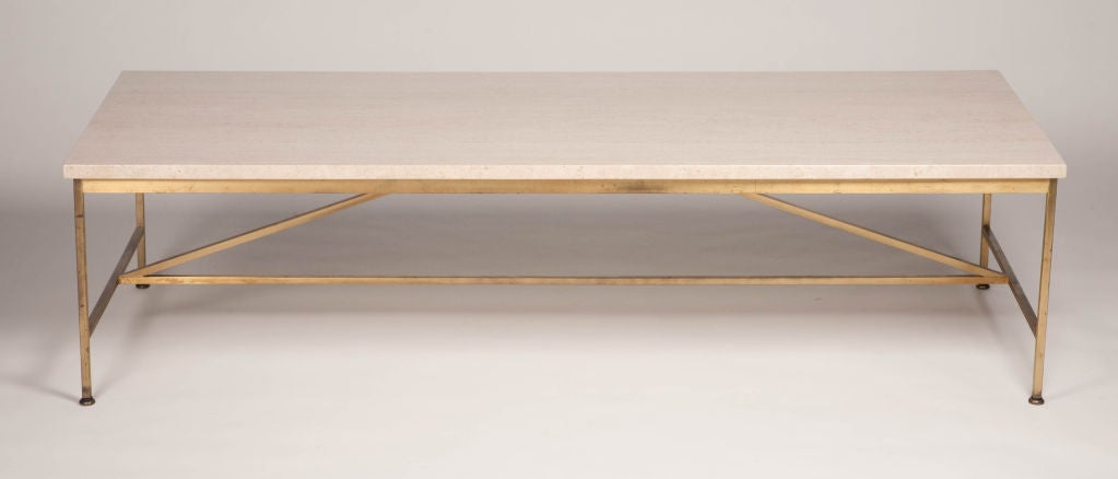 Travertine and Brass Cocktail Table by Paul McCobb for Calvin 2