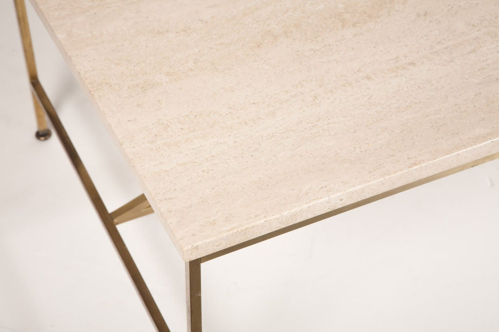 Travertine and Brass Cocktail Table by Paul McCobb for Calvin 3
