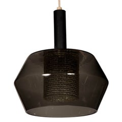 Smoked Glass and Cut-Glass Pendant Light by Orrefors