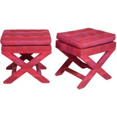 Pair of Larsen Upholstered X-Benches by Billy Baldwin