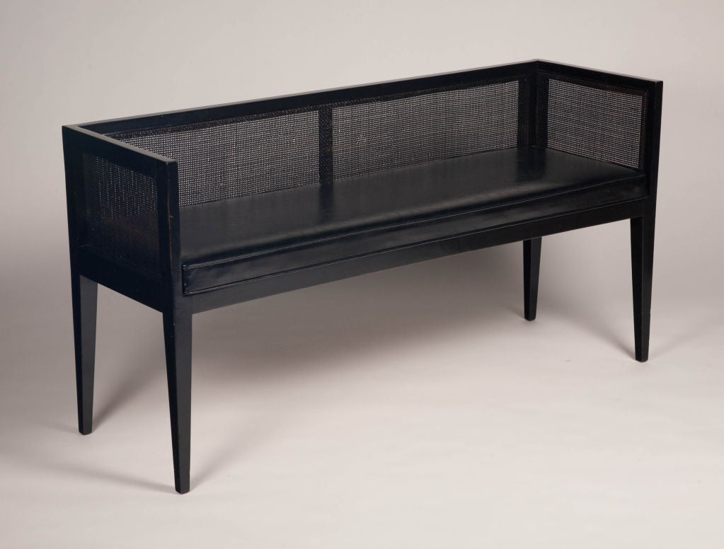Foyer Bench With Back : Ebonized and caned back entryway bench by baker at stdibs