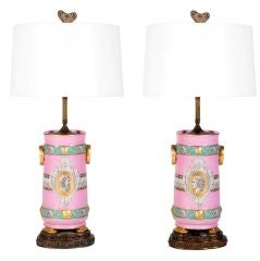 Pair of Pink Neoclassical Urn Table Lamps by Old Paris