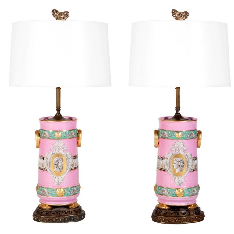 Pair Of Pink Neoclassical Urn Table Lamps By Old Paris For Sale