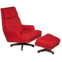 Striking Red Lounge Chair and Ottoman by Edward J Wormley