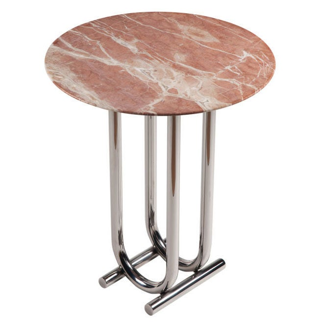 Rose Marble and Chrome Side Table by Jay Spectre
