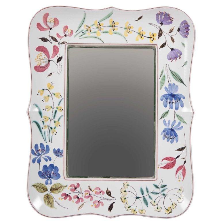 Floral Ribbon Faience Mirror Frame by Stig Lindberg Gustavsberg For Sale