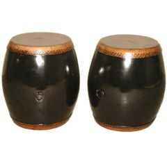A Pair Of Black Lacquer Drums With Leather Top & Bottom