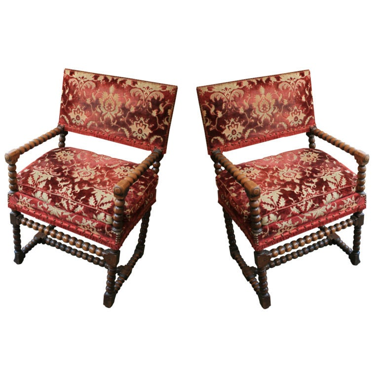 Spanish 19th century baroque style armchairs at 1stdibs for Spanish baroque furniture