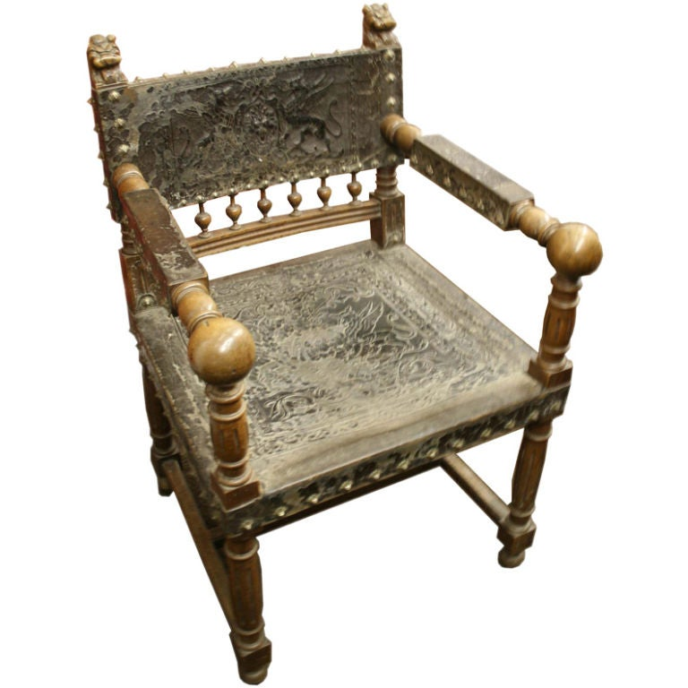 Spanish baroque studded arm chair with tooled leather at for Spanish baroque furniture