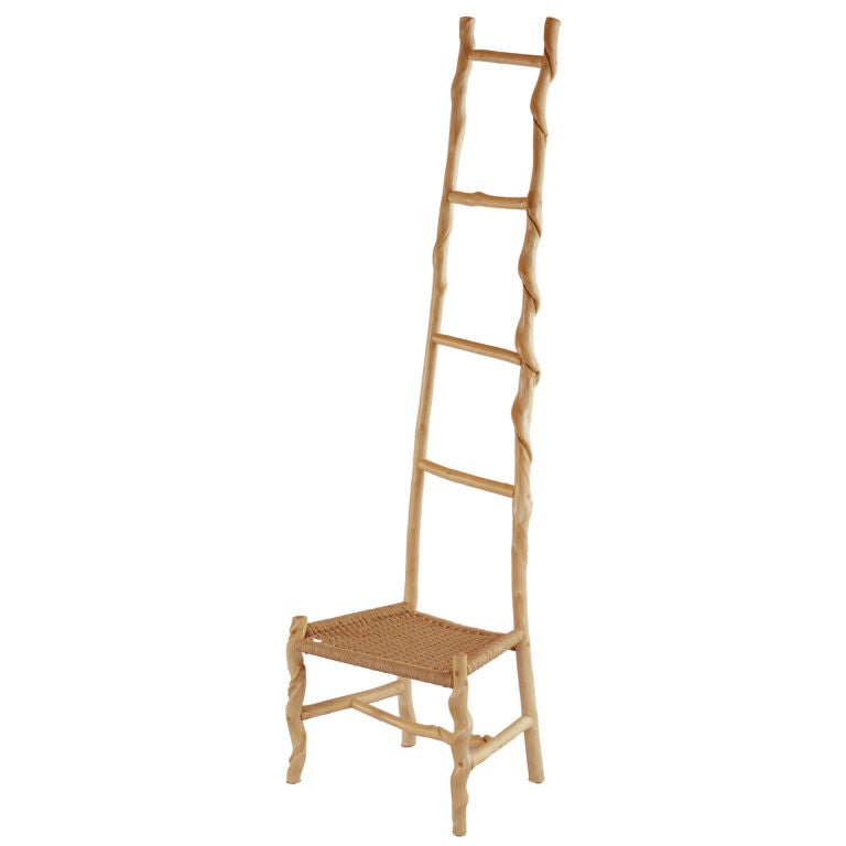 David N. Ebner, Twisted Stick Ladder Back Chair For Sale