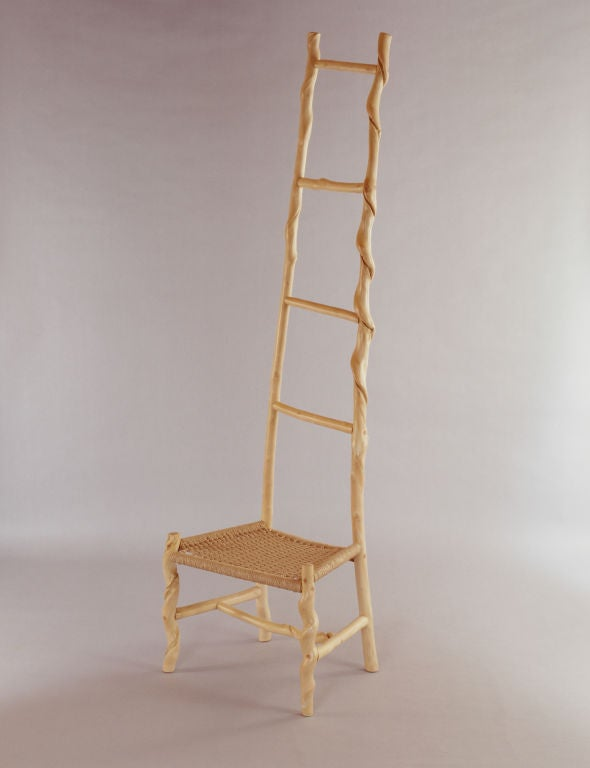One of a kind tall twisted stick ladder back chair by renowned artist and craftsman David N. Ebner.  Please see the newly published book