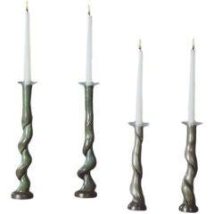 David N. Ebner Four Cast Bronze Candleholders