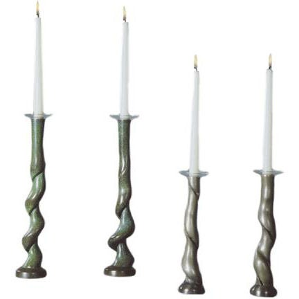 David N. Ebner Four Cast Bronze Candleholders