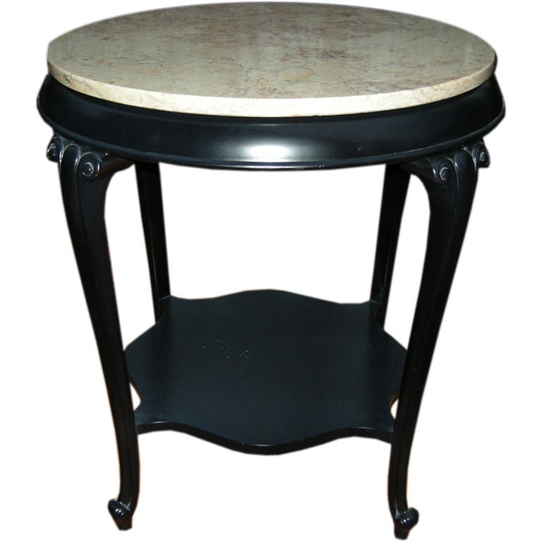 Pair Ebonized French Marble Top Side Tables End Tables