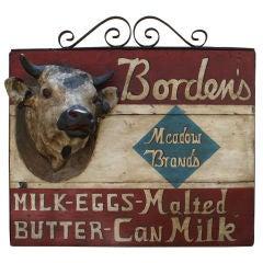 Massive Borden's Hanging Store Sign 1910