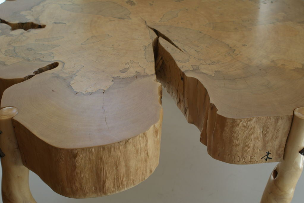 American David N. Ebner, Spalted Maple Wood and Sassafras Coffee Table