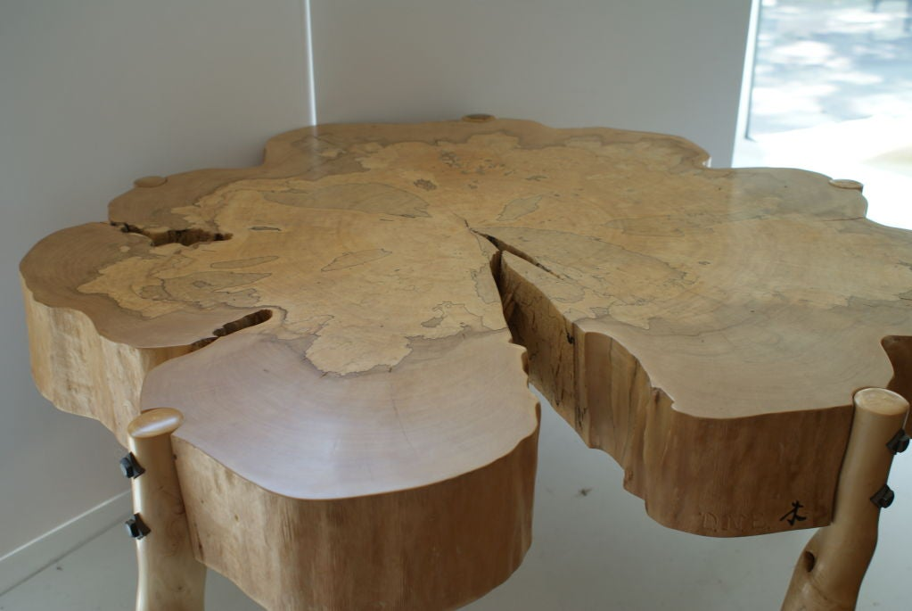Artist and craftsman David N. Ebner's one of a kind spalted maple wood coffee table with sassafras wood legs. Magnificent definition in the maple wood top.  Please see the newly published book