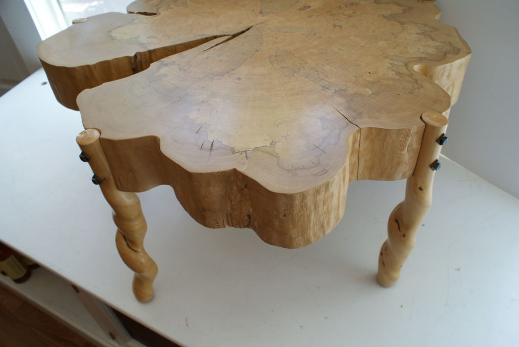 American Craftsman David N. Ebner, Spalted Maple Wood and Sassafras Coffee Table