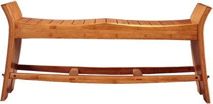 A wonderful David N. Ebner bamboo bench. Shown in amber; the bamboo collection can be crafted in both natural or amber finish.  Through the use of stripped down Classic forms, David Ebner has updated and extended the mode of furniture solidified