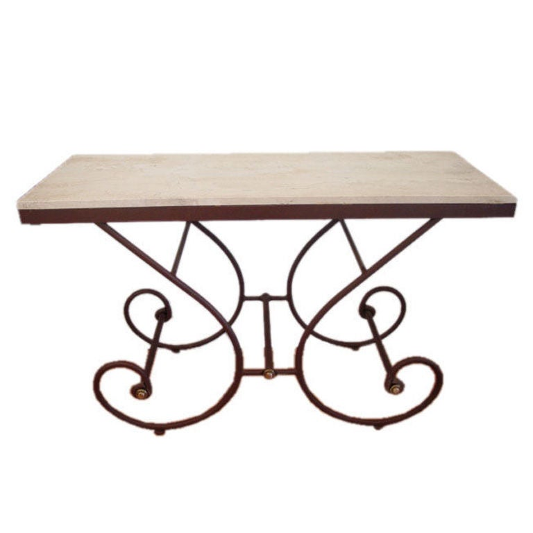 Travertine and Iron Console/Serving Table.