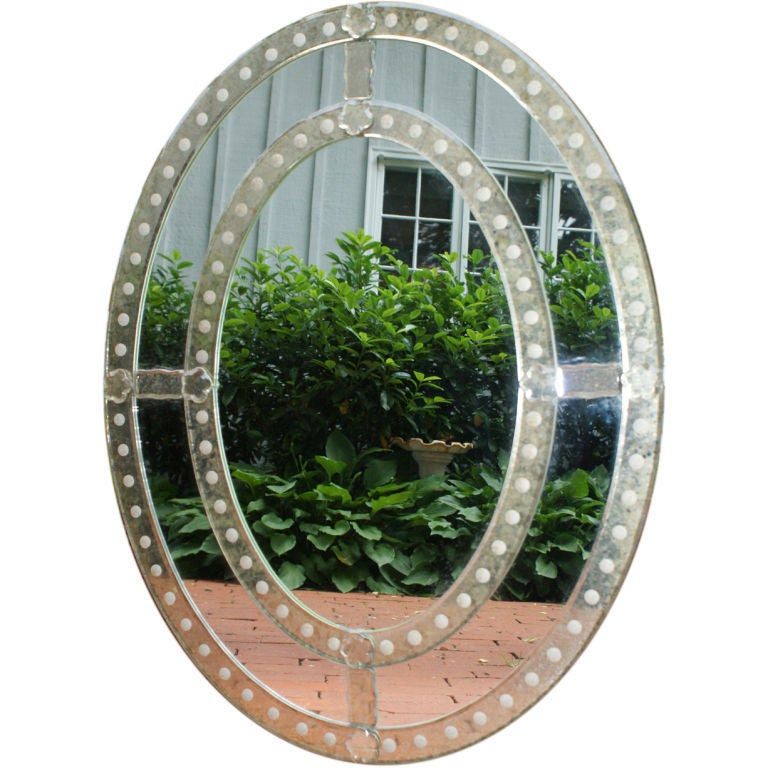 Venetian style decorative oval shaped mirror at 1stdibs for Fancy oval mirror
