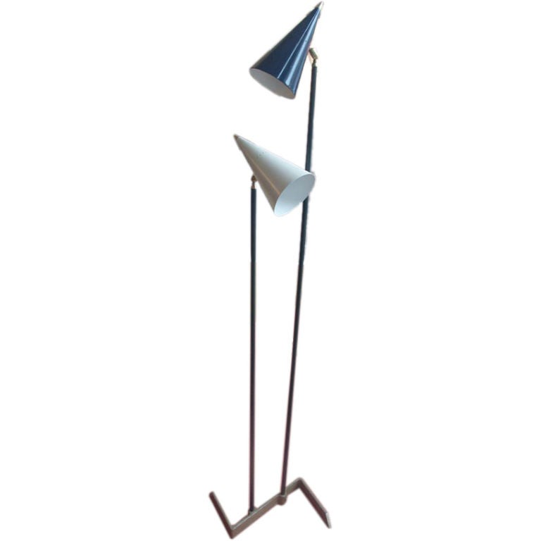 Italian Double Pole Floorlamp With Articulating Shades At