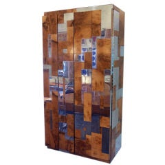 Wall Mounted Paul Evans Burl and Chrome Bar and End Tables