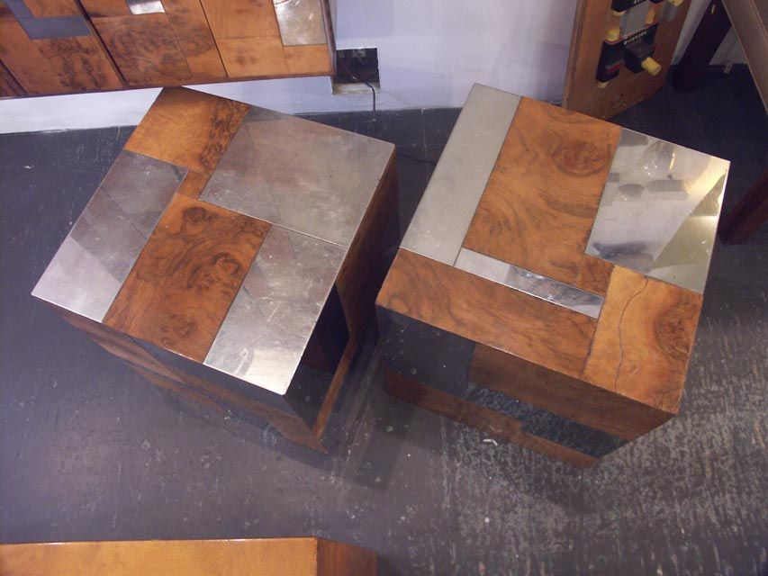 wall mounted paul evans burl and chrome bar and end tables at 1stdibs. Black Bedroom Furniture Sets. Home Design Ideas