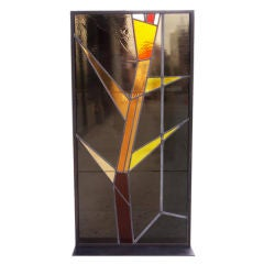 Geometric Stained Glass Panels by Architect Victor Hornbein