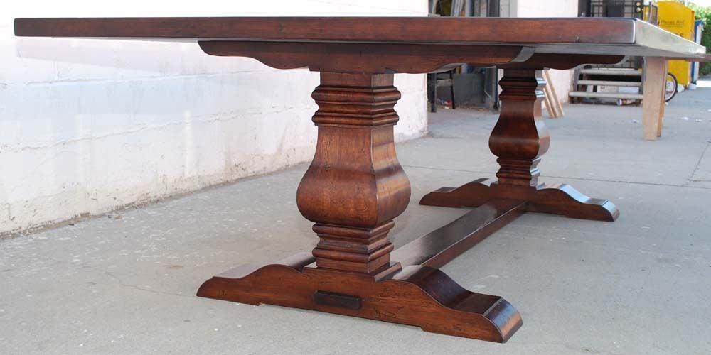 American Trestle Table in Distressed Cherrywood, Built to Order by Petersen Antiques For Sale