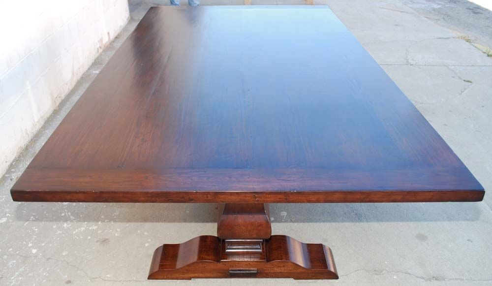 Trestle Table in Distressed Cherrywood, Built to Order by Petersen Antiques In Excellent Condition For Sale In Los Angeles, CA