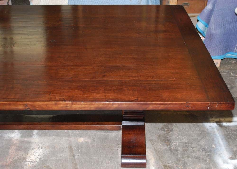 20th Century Trestle Table in Distressed Cherrywood, Built to Order by Petersen Antiques For Sale