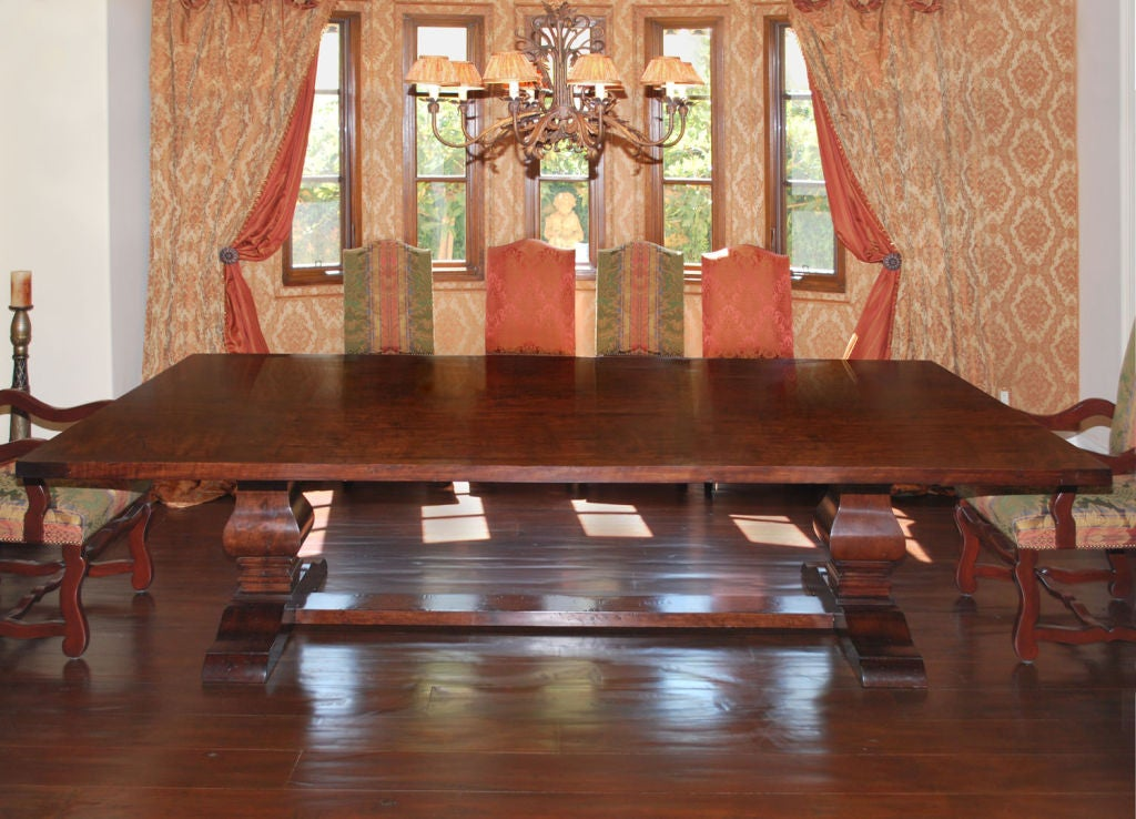 Dining Table Or Trestle Table In Distressed Cherrywood For