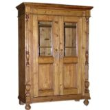 Antique Bookcase with Glass Paneled Doors