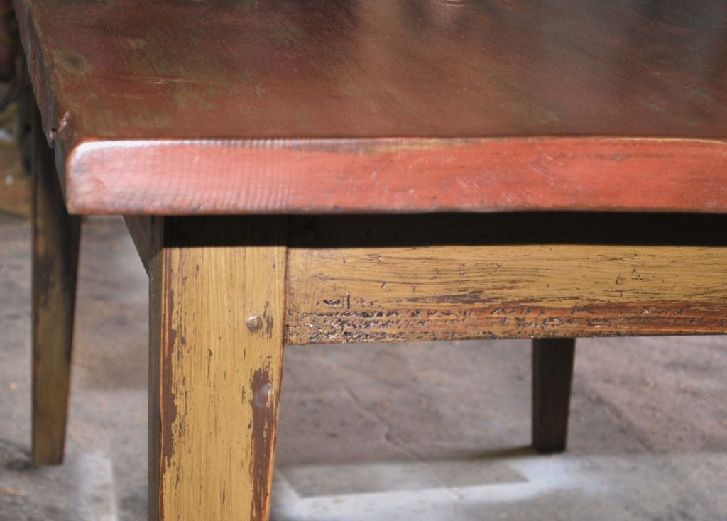 Painted Farm Table In Reclaimed Antique Wood Custom Made