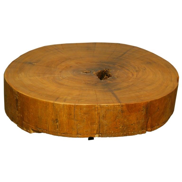 Nohomodernsolidiperoundbronzelegscoffeetable1jpg for Solid block wood coffee table
