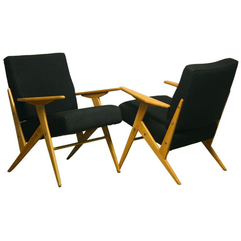 Exotic Wood And Fabric Side Chairs By Jose Zanine Caldas 1